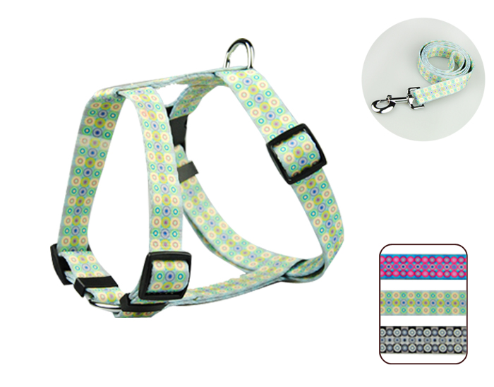 Heat transfer print fashion dog harness